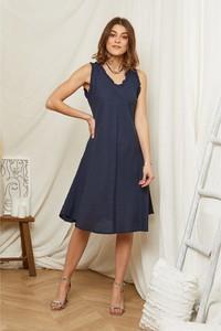 Sukienka Rodier Lin z dekoltem w kształcie litery v mini bez rękawów