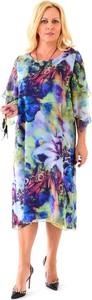 Sukienka Roxana z szyfonu z okrągłym dekoltem midi