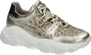 Buty sportowe SIMEN ze skóry na platformie sznurowane