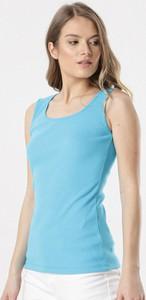 Niebieska bluzka born2be w stylu casual z okrągłym dekoltem