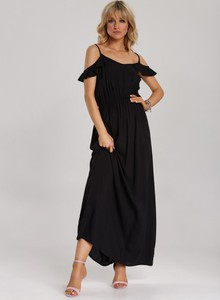 Czarna sukienka Renee maxi z okrągłym dekoltem
