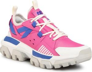 Różowe buty sportowe Caterpillar sznurowane z płaską podeszwą