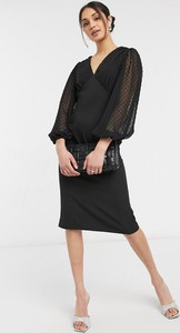 Czarna sukienka Asos ołówkowa z długim rękawem z dekoltem w kształcie litery v