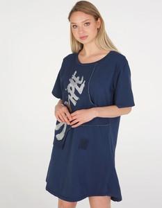 Granatowa sukienka Unisono w stylu casual mini