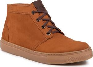 Brązowe buty zimowe Quazi sznurowane