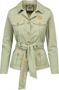 Zielona kurtka Aeronautica Militare z tkaniny krótka w militarnym stylu