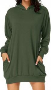 Zielona sukienka Cikelly z kołnierzykiem z długim rękawem