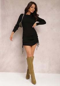 Czarna sukienka Renee mini z dzianiny w stylu casual