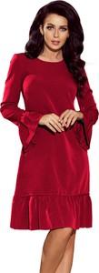 Czerwona sukienka NUMOCO z okrągłym dekoltem mini oversize