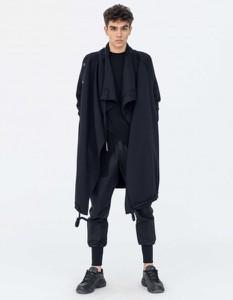 Czarny płaszcz męski Synthetic 100%natural z dzianiny