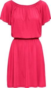 Czerwona sukienka bonprix RAINBOW midi trapezowa z krótkim rękawem
