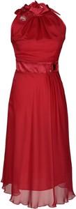 Czerwona sukienka Fokus bez rękawów rozkloszowana midi