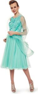 Niebieska sukienka L'AF rozkloszowana z satyny midi