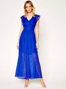 Niebieska sukienka DKNY z krótkim rękawem z dekoltem w kształcie litery v maxi