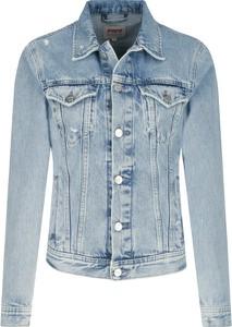 Niebieska kurtka Pepe Jeans krótka w stylu casual z jeansu