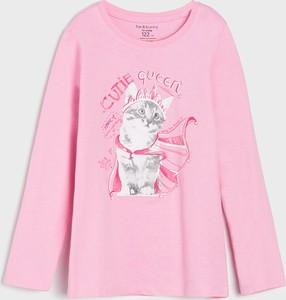 Różowa bluzka dziecięca Sinsay z długim rękawem z bawełny