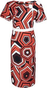 Sukienka Fokus z tkaniny z okrągłym dekoltem midi
