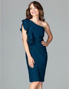Niebieska sukienka LENITIF bez rękawów midi