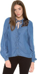 Niebieska koszula Guess z kokardą