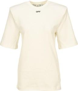 T-shirt Off White z okrągłym dekoltem z krótkim rękawem