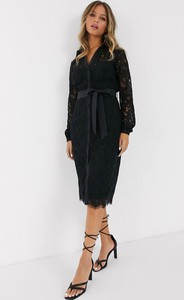 Czarna sukienka Paper Dolls z długim rękawem midi