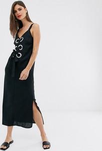Sukienka Asos Design z dekoltem w kształcie litery v z lnu na ramiączkach