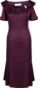 Fioletowa sukienka Fokus z tkaniny midi dopasowana
