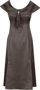 Brązowa sukienka Fokus trapezowa z krótkim rękawem