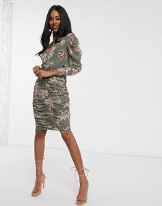 Sukienka Asos Design mini z dekoltem w kształcie litery v z długim rękawem