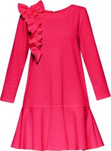 Czerwona sukienka Yuliya Babich z długim rękawem z okrągłym dekoltem