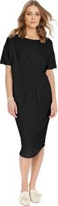 Czarna sukienka By Insomnia z krótkim rękawem midi