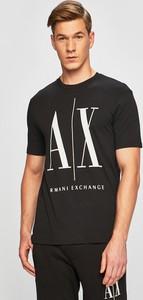 Czarny t-shirt Armani Exchange z dzianiny