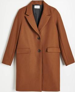 Brązowy płaszcz Reserved z wełny w stylu casual