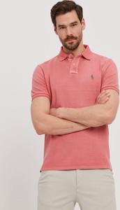 Różowa koszulka polo POLO RALPH LAUREN z krótkim rękawem z dzianiny