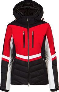 Czerwona kurtka Descente z tkaniny z kapturem krótka