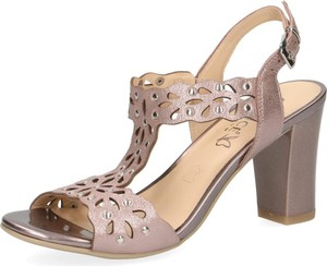 Sandały Caprice z tkaniny na średnim obcasie z klamrami