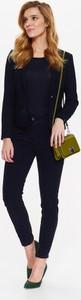 Granatowe spodnie Top Secret w stylu klasycznym z bawełny
