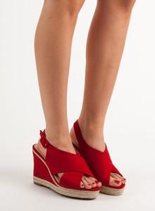 Sandały Czasnabuty z zamszu na koturnie
