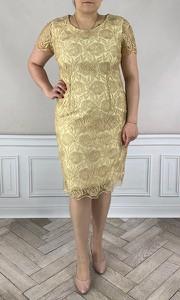 Sukienka Dorota midi z okrągłym dekoltem