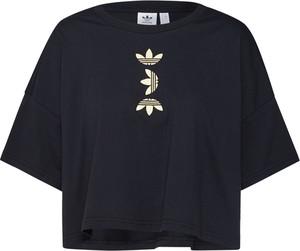 Czarna bluzka Adidas Originals z krótkim rękawem z okrągłym dekoltem