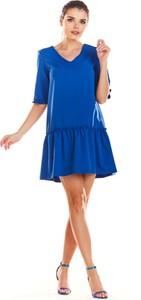 Niebieska sukienka Infinite You oversize w stylu casual z dekoltem w kształcie litery v