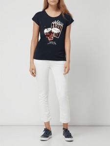 Granatowa bluzka Montego w stylu glamour z krótkim rękawem