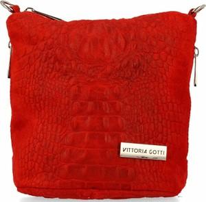 Czerwona torebka VITTORIA GOTTI zamszowa na ramię