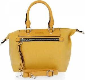 Żółta torebka David Jones na ramię ze skóry ekologicznej