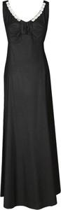 Czarna sukienka Fokus maxi z dekoltem w kształcie litery v z satyny