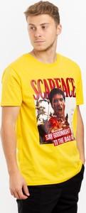 Żółty t-shirt Plus Eighteen z bawełny z nadrukiem