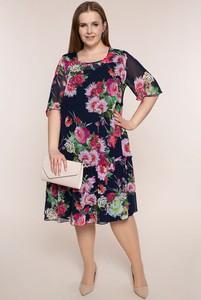 Sukienka modneduzerozmiary.pl z szyfonu z okrągłym dekoltem z długim rękawem