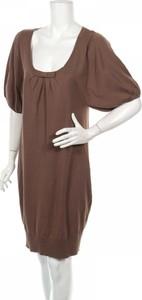 Brązowa sukienka Zenggi z długim rękawem mini w stylu casual