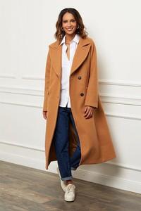 Brązowy płaszcz Le Comptoir Du Manteau z wełny w stylu casual