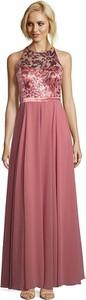 Różowa sukienka Vera Mont z okrągłym dekoltem